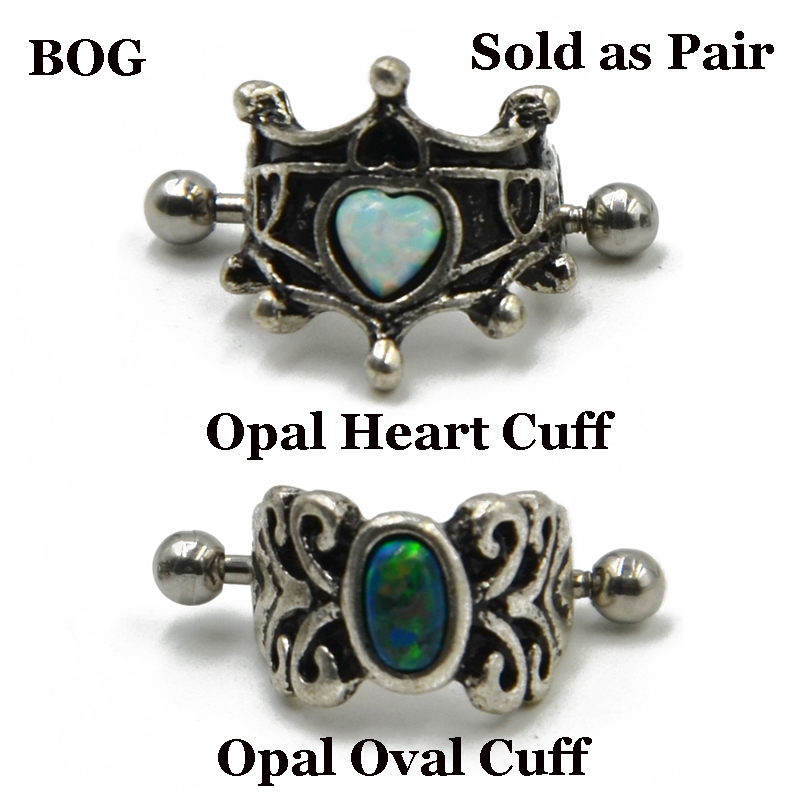 Pair Vintage 316l Surgical Steel With Opal Ear Cartilage Cuff Rings Piercing Heart Oval Earring For Woman Piercing Body Jewelry