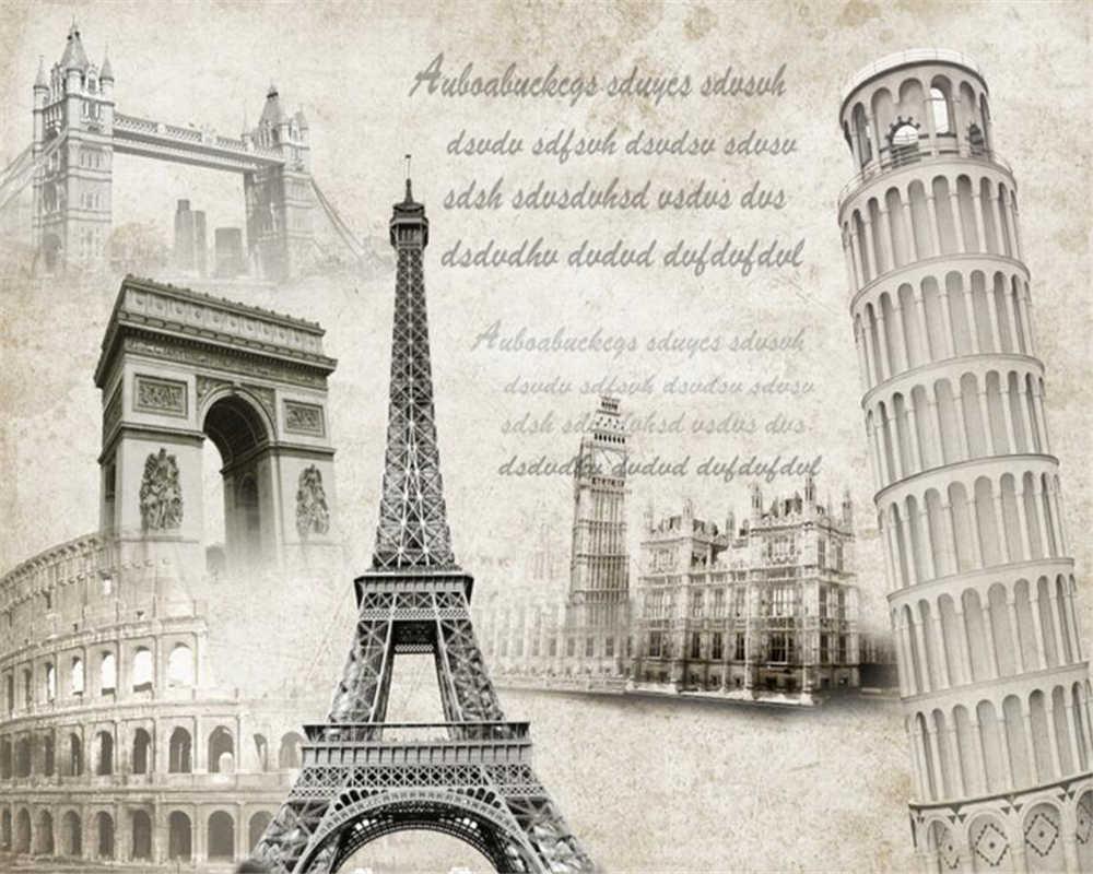 Beibehang Wallpaper Kustom Arsitektur Eropa Menara Eiffel Paris Notre Dame Adu Banteng Bahasa Inggris Huruf TV Sofa Mural Foto