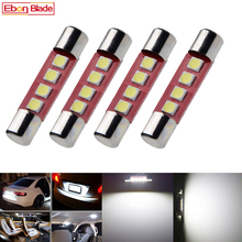 4 pçs 28mm 29mm c5w 4 smd 3030 lâmpada led para festoon auto interior viseira de sol vaidade espelho fusível luz branco dc12v estilo do carro