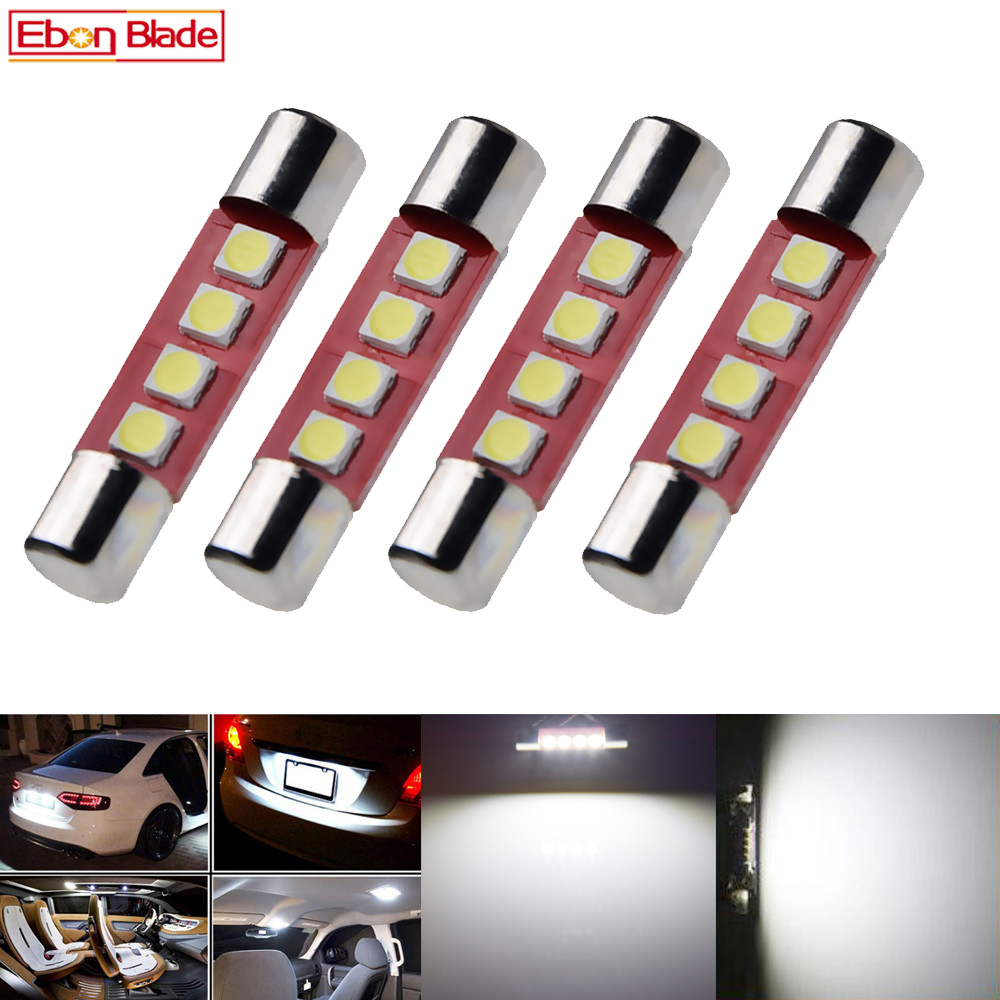 4pcs 28mm 29mm C5W 4 SMD 3030 LED Lamp Bulb For Festoon Auto Interior Sun Visor Vanity Mirror Fuse Light White DC12V Car Styling-in Signal Lamp from Automobiles & Motorcycles
