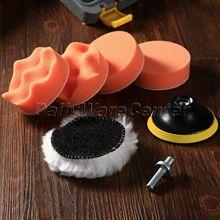 7Pcs/set 3 Inch Buffing Pad Auto Car Polishing Sponge Wheel Kit W/ M10 Drill Adapter for Wash Cleaning Detailing Polish