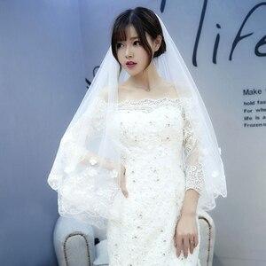 Image 2 - hot sale list Ivory long wedding veil 2m 3m flowers beaded lace edge velos novia wedding accessories cathedral wedding veil