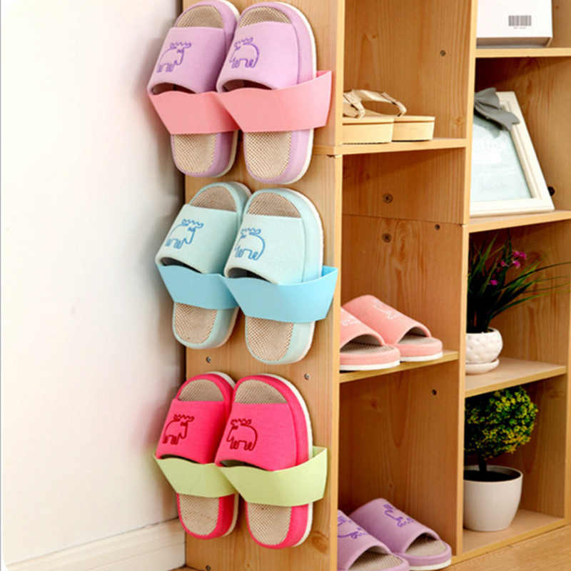 Hanging Shoe Storage Rack Wall Shelving Shoe Organizer Portable Shoe Cabinet Hook Shoes Support Slot Closet Shelf Holder Blue