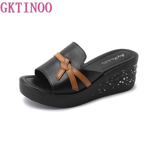 2019 Hot Sale Women Summer Fashion Leisure shoes women platform wedges Fish Mouth Sandals Thick Bottom Slippers Genuine Leather