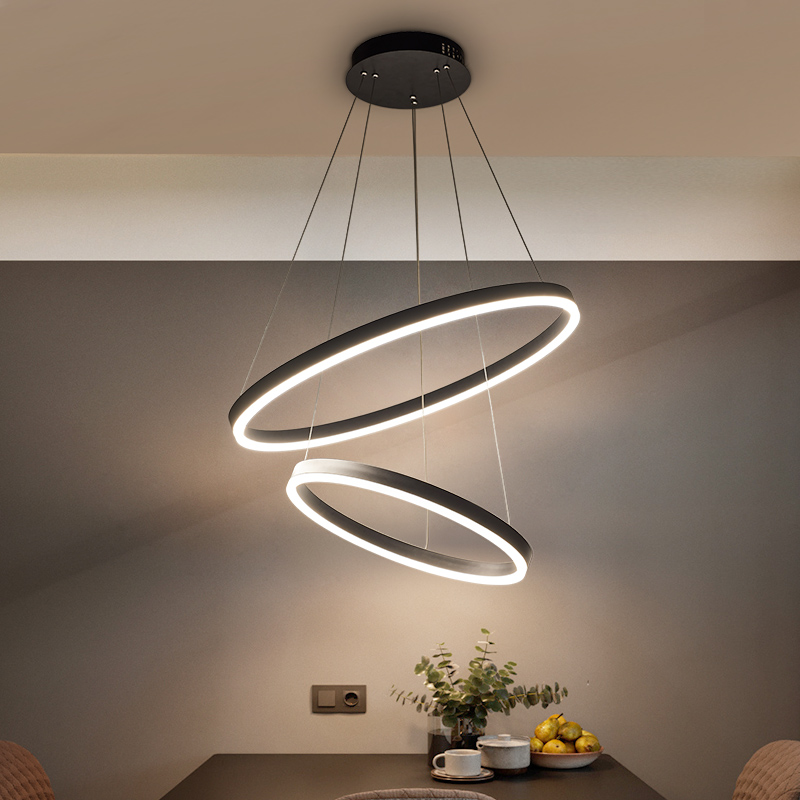40CM-100CM Rings Fashional Modern LED chandeliers for Living Dining room DIY Hanging Lighting circle rings for indoor lighting fashional modern black