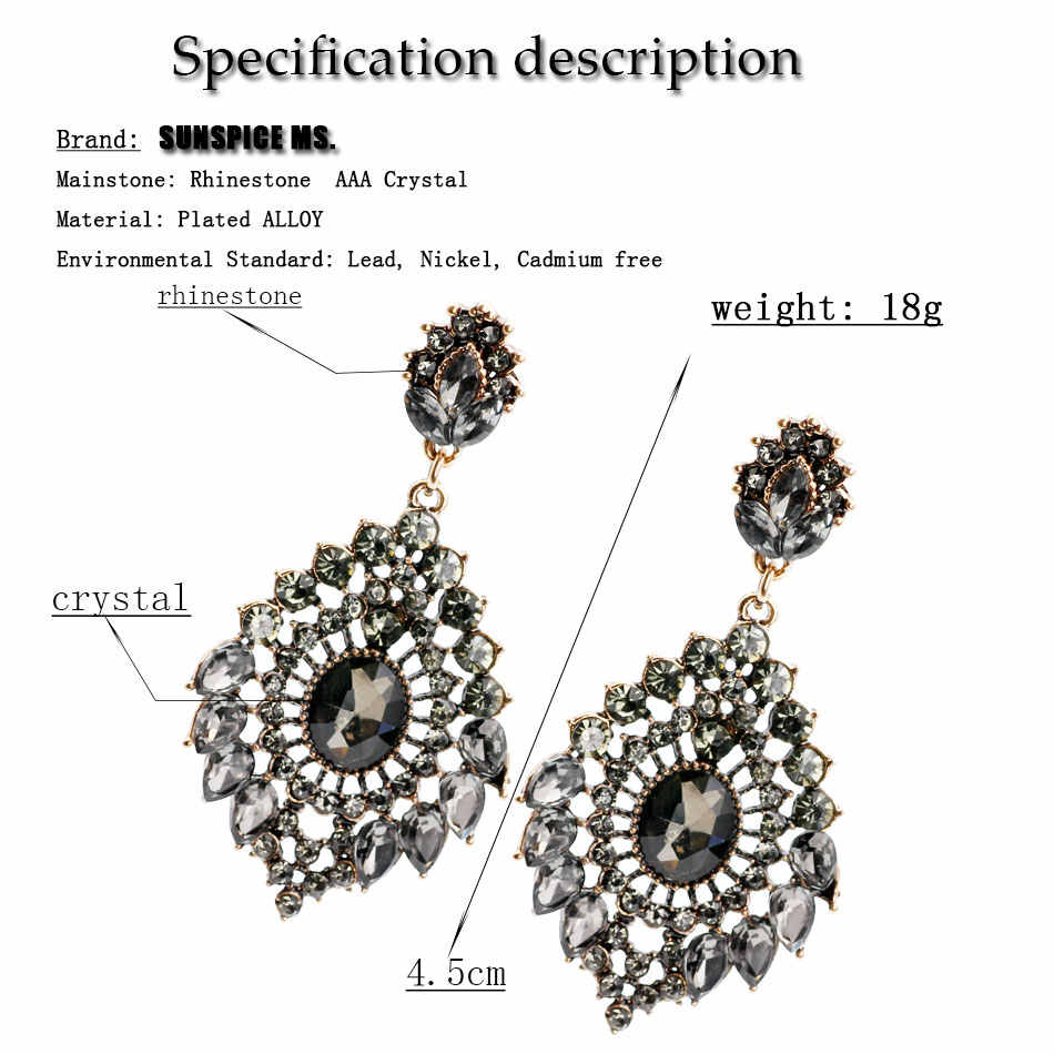 Fashion Bohemia Gray Crystal Long Dangle Earrings For Women Hollow Flower Ethnic Jewelry Antique Gold Color Birthday Gift 2018
