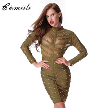 CIEMIILI 2017 Women Sexy Evening Party Bodycon Dress Mesh Knee-length Celebrity Long Sleeve Bandage Dress Vestidos Free Shipping