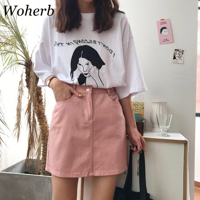 123d0f25f Woherb Coreano 2019 Verão Mini Saia Casual Elastic Cintura Alta Saia Jeans  Saia Saias Das Mulheres