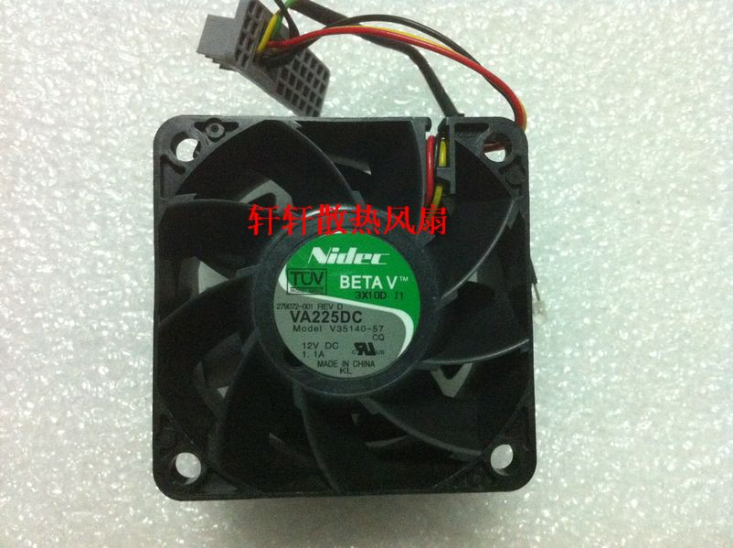 Original Nidec 6038 12v 1.1A V35140 57 60 * 60 * 38mm three wire ball bearing cooling fan|cooling fan|ball bearing fan|38mm fan - title=