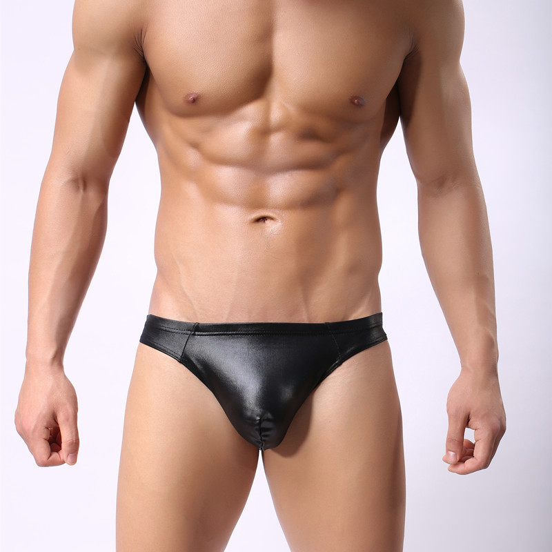 Mens Tanga Briefs Male Erotic Lingerie Underpants Faux Leather Passion Show Cool Gay Fetishism Panties Sexy Fad Glossy Underware