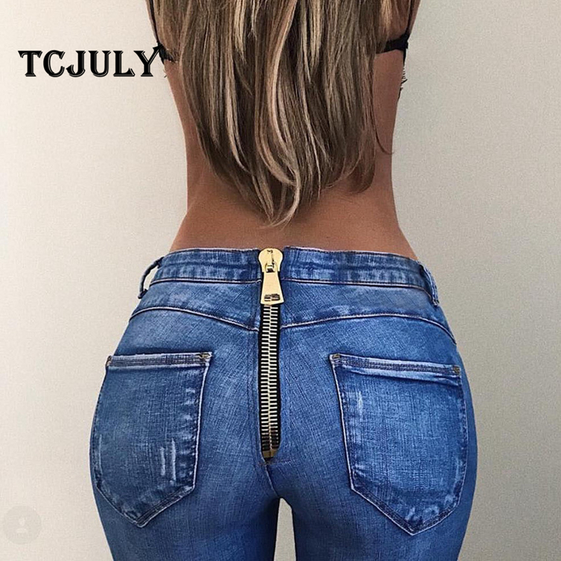 TCJULY Stylish Washed Jeans With Zipper In The Back Skinny Push Up Denim Pencil Pants Streetwear Slim Stretch Blue Women's Jeans