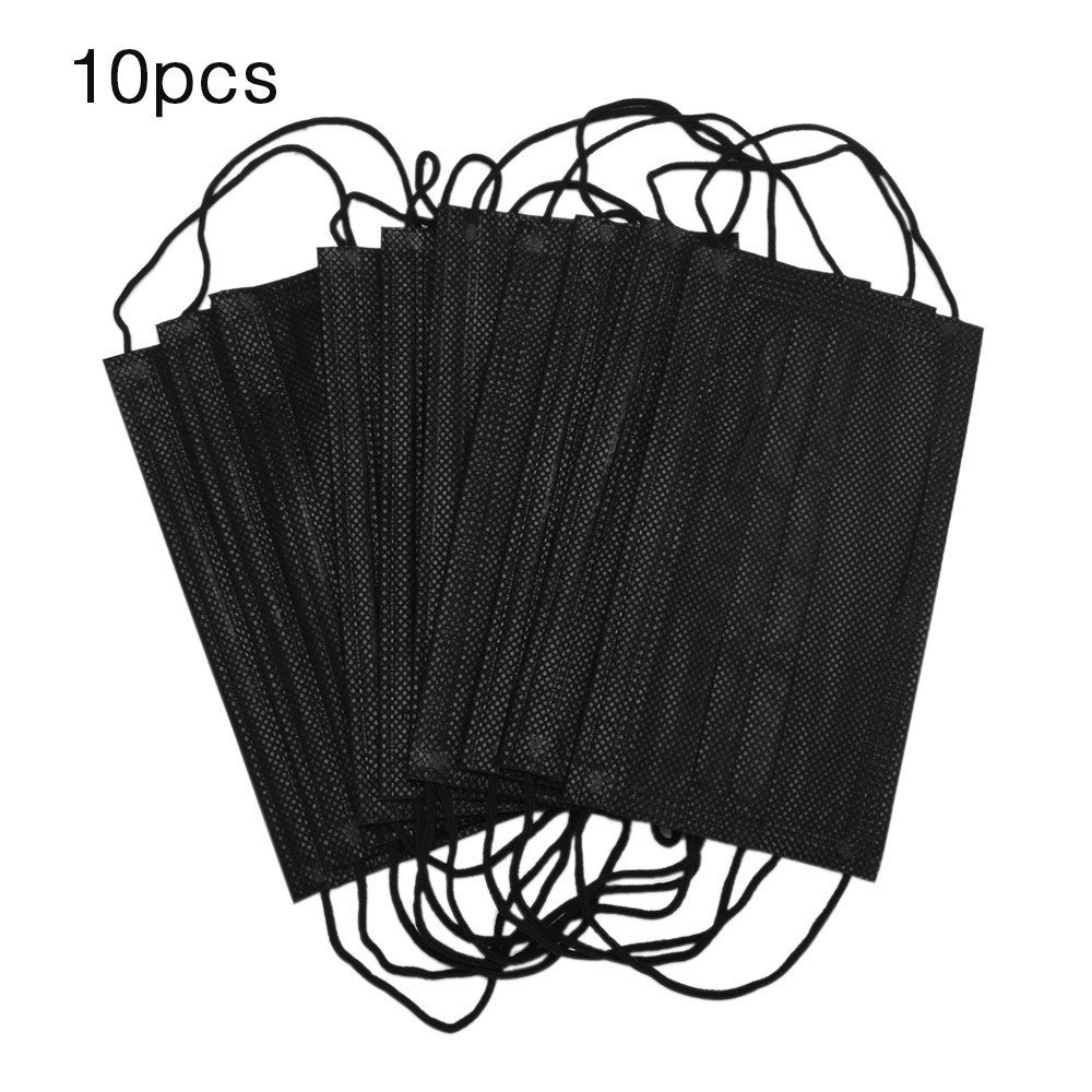 10Pcs Mask Mouth Face Mask Disposable Black Cotton Mouth Masks Medical Mask Anti-Dust 3 Filter Earloop Activated Carb