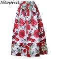 Neophil 2016 Luxo Rose Flor Floral Imprimir Maxi Longa Plissada mulheres muçulmanas 100 cm inverno uma linha de saias flare jupe longue MS08001