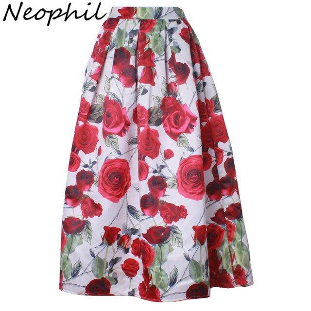 Neophil 2016 de Lujo Flor de Rose Floral Print Largo Maxi Plisado faldas mujeres 100 cm invierno una línea flare jupe longue MS08001