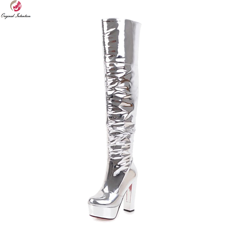 Original Intention Stylish Women Over-the-Knee Party Boots Round Toe Square Heels Boots Nice Silver Shoes Woman US Size 3-10.5 цена