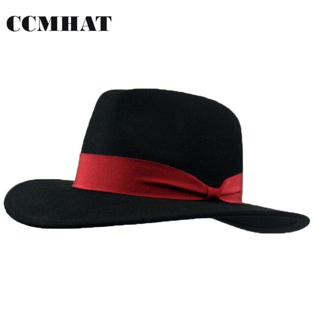 63fe31d04 Ccmhat Sombreros de fieltro sombreros para las mujeres invierno lana Fieltro  negro sombrero fedora sombrero para