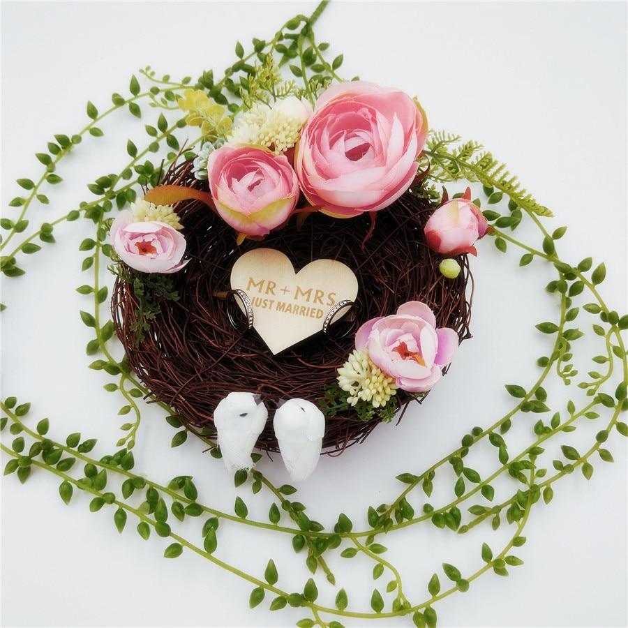 Us 1988 30 Offhandmade Bird Nest Wedding Ring Pillow Forest Style Romantic Pink Camellia Flower Decoration Ring Holder For Wedding 15cm In