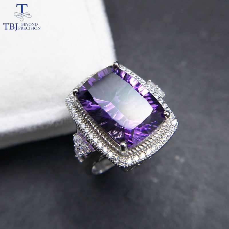 TBJ,Big natural gemstone ring with natural african amethyst cushion 10*14 6ct concave cut gemstone ring for women in 925 silver