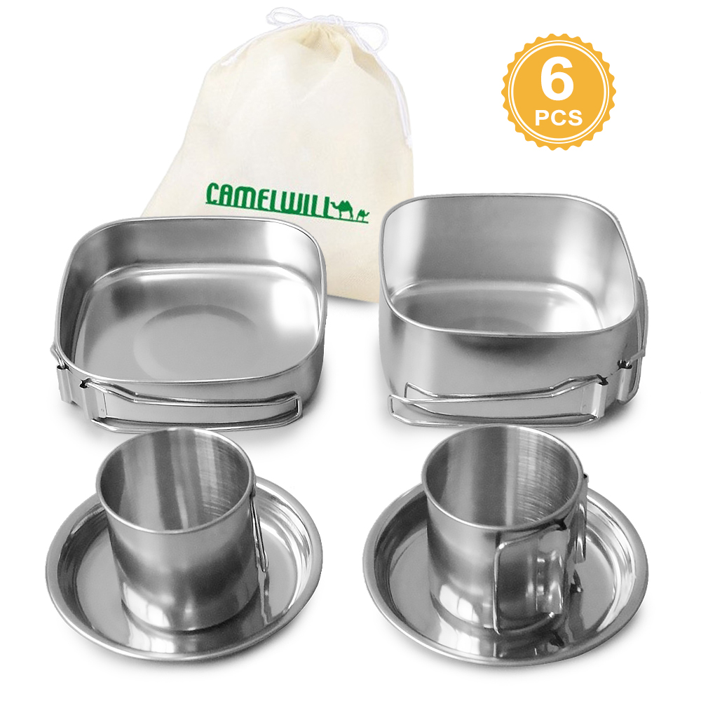 Image 3 - 6 PCS Outdoor Pot Set Camping Soup Coffee Water Cups Stainless Steel Cooking Pans Plates Set for 1 2 People Outdoor Tableware-in Outdoor Tablewares from Sports & Entertainment