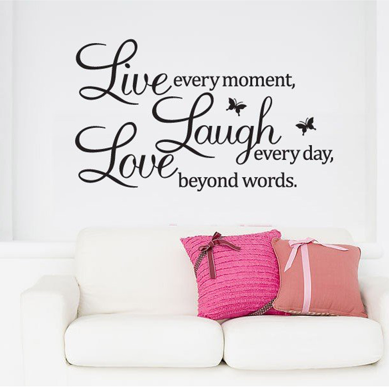 Hot Sale Live Love Laugh Letters Transprent Waterproof Vinyl Wall Quotes Decal Pvc Home Decor