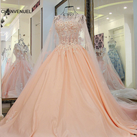 LS67889 african formal dresseses with long cape flowers sleeveless corset back pink celebrity dresses 2016 real picture