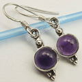 Silver AMETHYST Round Cabochon Stone DECO Earrings 3.0 CM 2.6 Grams