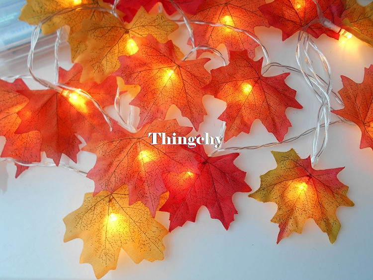1.5~6m LED Light String Autumn Fall Maple Leaves Garland Light for Halloween