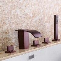 Античная латунь квадратный, для ванны Водопад кран ванная душ Смеситель кран Набор Три ручки пять отверстий с ручной душевой головкой