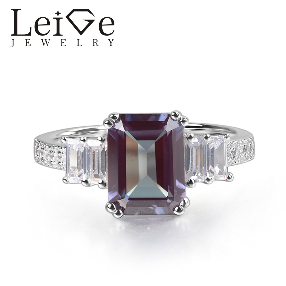 Leige Jewelry Alexandrite Ring Emerald Cut Prong Setting 925 Sterling Silver for Women Wedding Engagement Ring June Birthstone