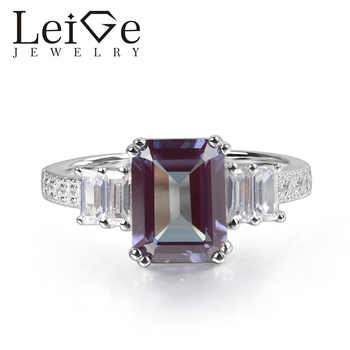 Leige Jewelry Alexandrite Ring Emerald Cut Prong Setting 925 Sterling Silver for Women Wedding Engagement Ring June Birthstone - DISCOUNT ITEM  0% OFF All Category