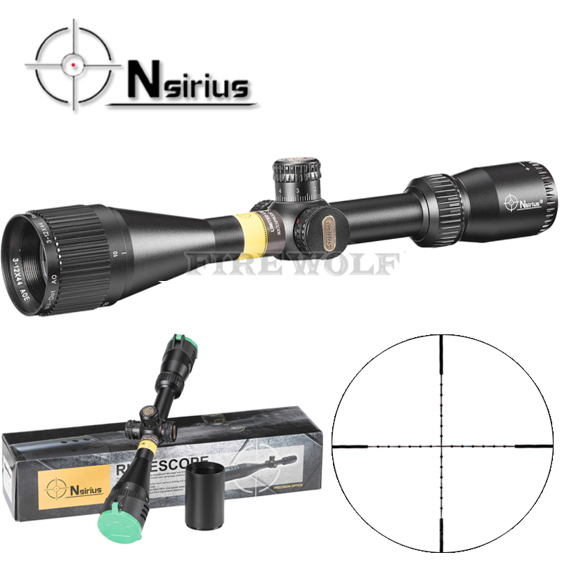 NSIRIUS Tactical White 3-12x44 AO Riflescope Optical Sight Full Size Mil Dot Red Green Llluminate Hunting Rifle Scope tactial qd release rifle scope 3 9x32 1maol mil dot hunting riflescope with sun shade tactical optical sight tube equipment