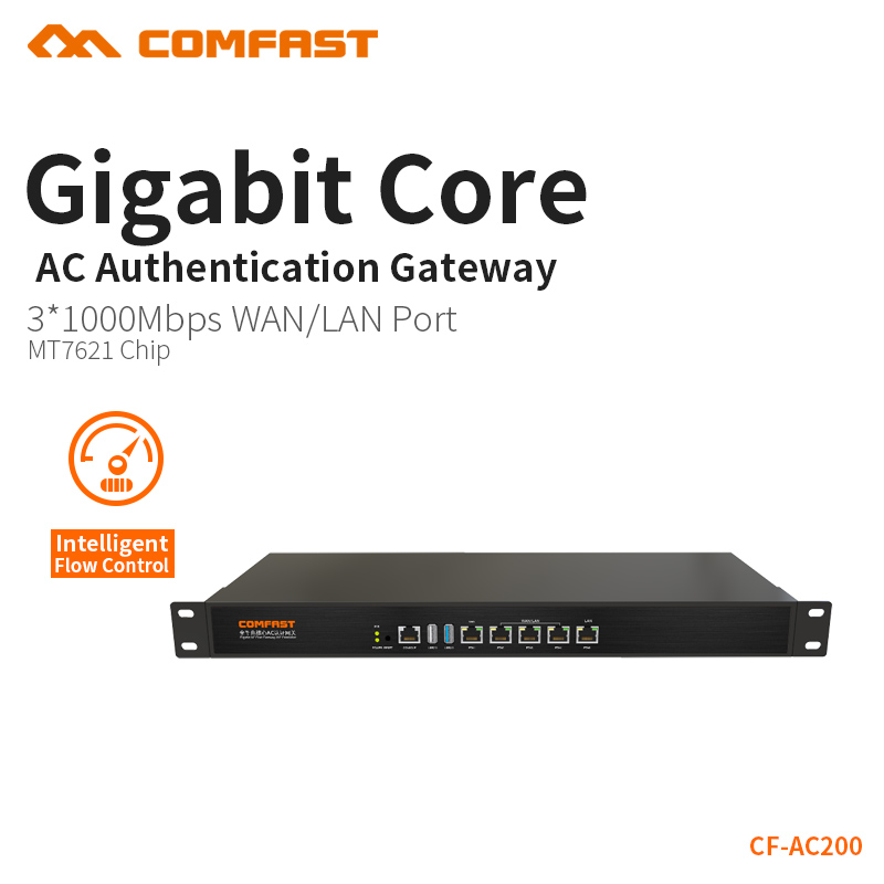 COMFAST Full Gigabit Core Gateway AC gateway controller MT7621 wifi project manager with 4*1000Mbps WAN LAN port 880Mhz CF-AC200 comfast ac200 orange os system full gigabit wifi control ac gateway routing wireless roaming wifi coverage project manager route