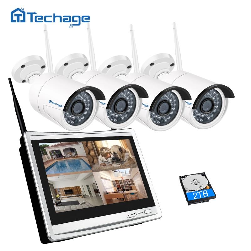 Techage 4CH 1080 P Беспроводной CCTV Системы 12 дюймов ЖК-дисплей Wi-Fi NVR 2MP ИК Открытый безопасности IP Камера P2P видеонаблюдения комплект 1 ТБ HDD