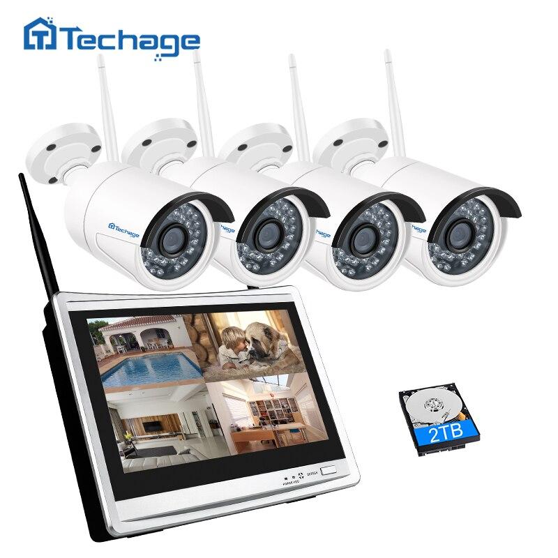Techage 4CH 1080 P Беспроводной CCTV Системы 12 дюймов ЖК-дисплей Wi-Fi NVR 2MP ИК Открытый безопасности IP Камера P2P видео комплект видеонаблюдения 1 ТБ HDD