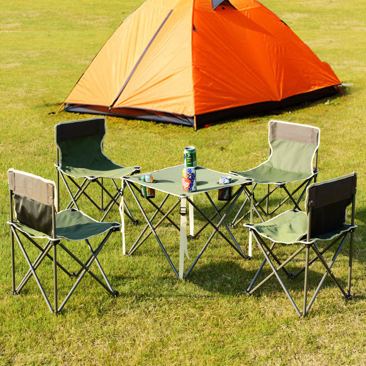 Tavolo Da Campeggio Con Sedie.Giantex Portatile Tavolo Pieghevole Per Esterni Sedie Set Da