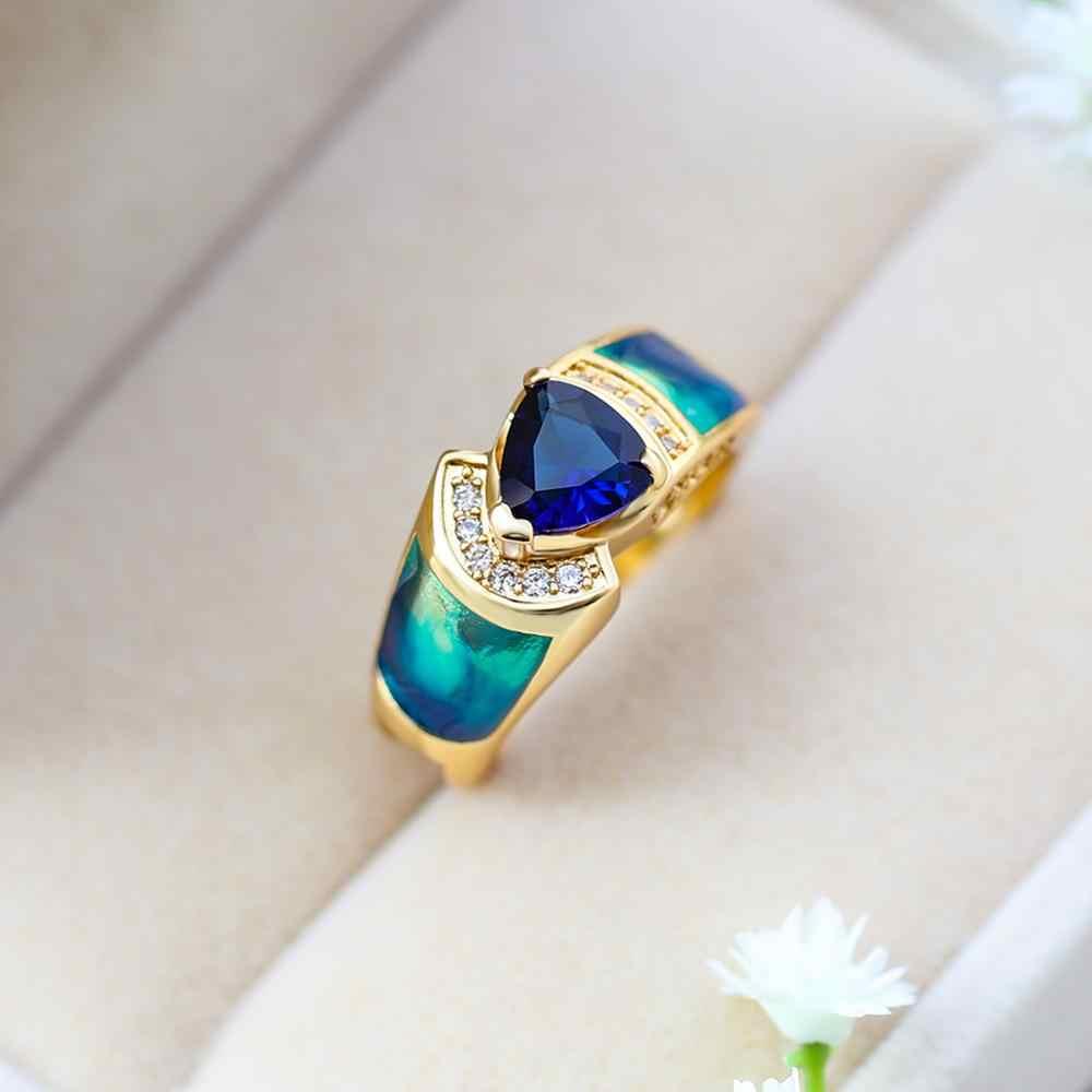 2019 ใหม่คริสตัล Zircon แหวนชายหญิงสีเหลืองทองแหวนแต่งงานแหวนสัญญาใหญ่แหวนหมั้นสำหรับชายผู้หญิง