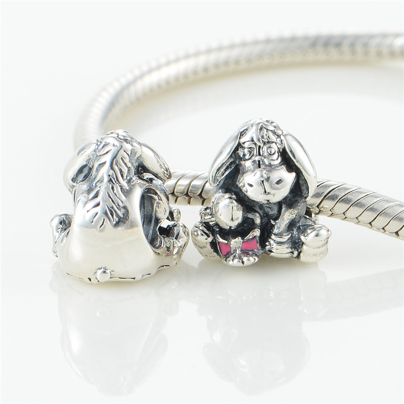 Eeyore With Dark Pink Beads Fit Pandora Charms Silver 925 Original Bracelet Women Fashion Jewelry Disny Beads For Jewelry Making  (5)