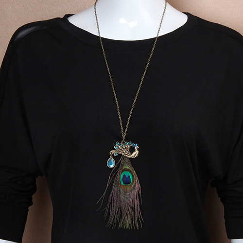 Fashion Jewelry Sweater Feather Zinc Alloy Chain Pendant Sweater Necklace Rhinestone necklace pendant watch