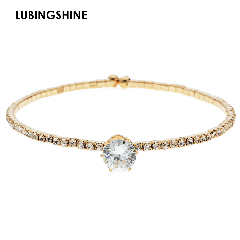 Fashion Gold Color Adjustable Charms Bracelets Bangles Rhinestones Open Round Alloy Bracelet for Women Anniversary Jewelry Gift