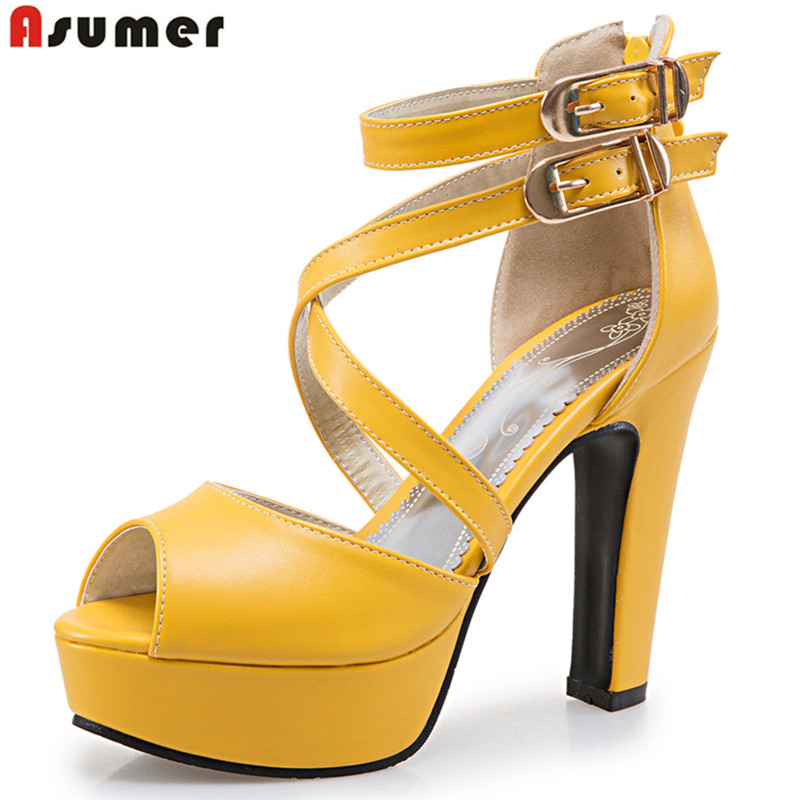 ASUMER Plus size 34-48 new women sandals platform shoes open toe high quality high heels open toe solid color prom wedding shoes