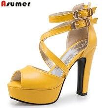 ASUMER Plus La taille 34-48 nouvelles femmes sandales plate-forme chaussures à bout ouvert haute qualité haute talons ouvert orteil couleur unie de bal de mariage chaussures
