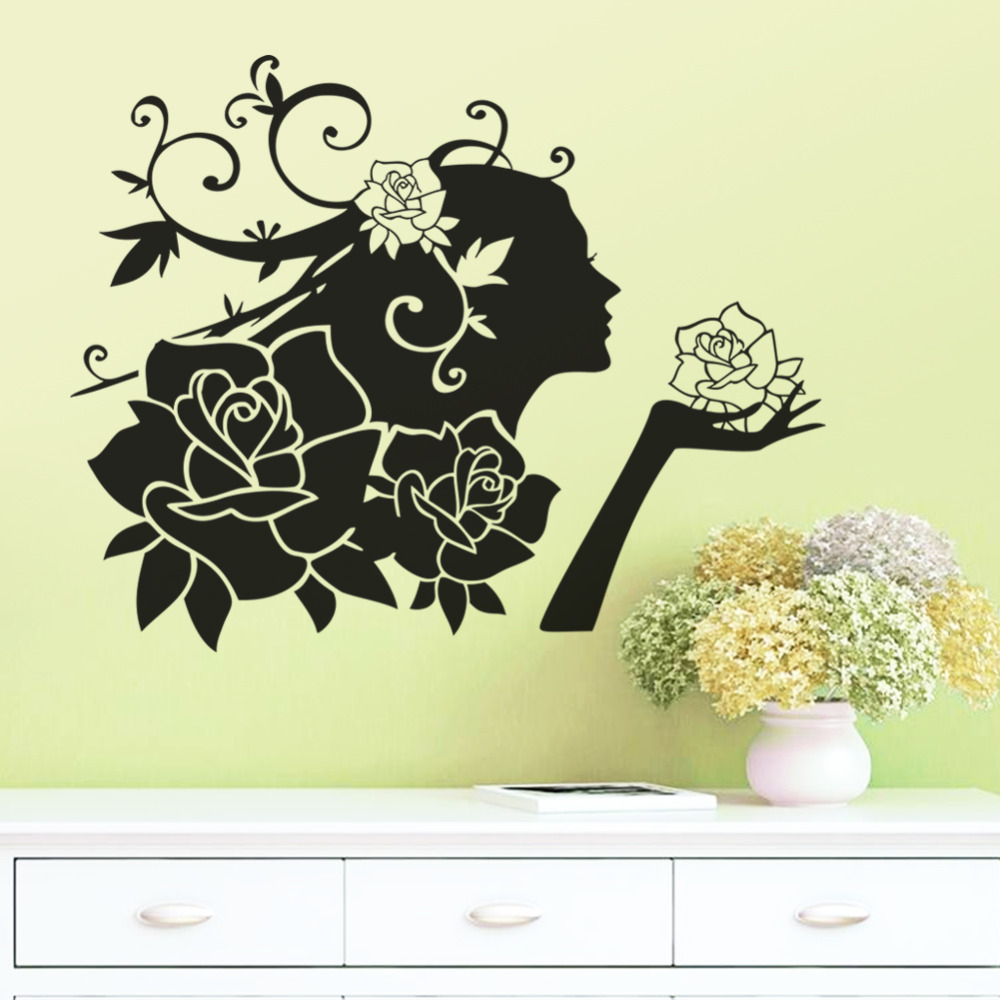 Woman Flowers Wall Stickers decals Romantic Love Rose Stickers ...
