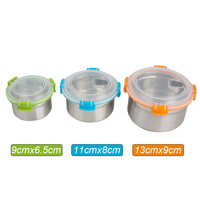 Multi Color Set Of 3 Leak Proof Stainless Steel Lunch Box Containers And Food Storage Snack