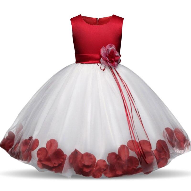 d56f272946c67 Kids Flowers Ribbons Dresses for Girls Tulle Gown Robe Ceremonie Fille  Mariage Enfant Vestido Infantil for Girls Christmas Dress