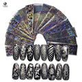 16pcs 20x4cm Beauty Nail Sticker Black Laser Nail Art Stickers Transfer Foil Nail Wraps Nails Water Decals LF01-16
