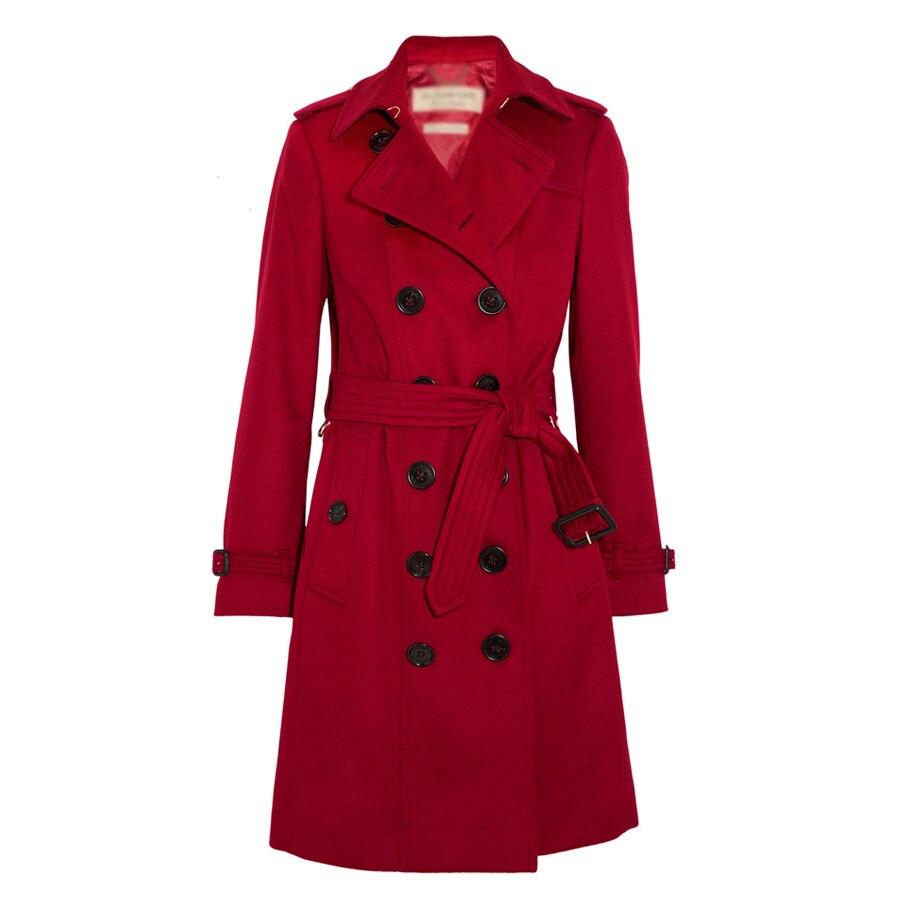 Longue Vestes Élégant Mince Boutonnage Veste Manteau Double Mélanges Rouge Pardessus Ceinture Vin 2017 Automne Laine Femmes Femme Chaud Hiver qvZpwY0
