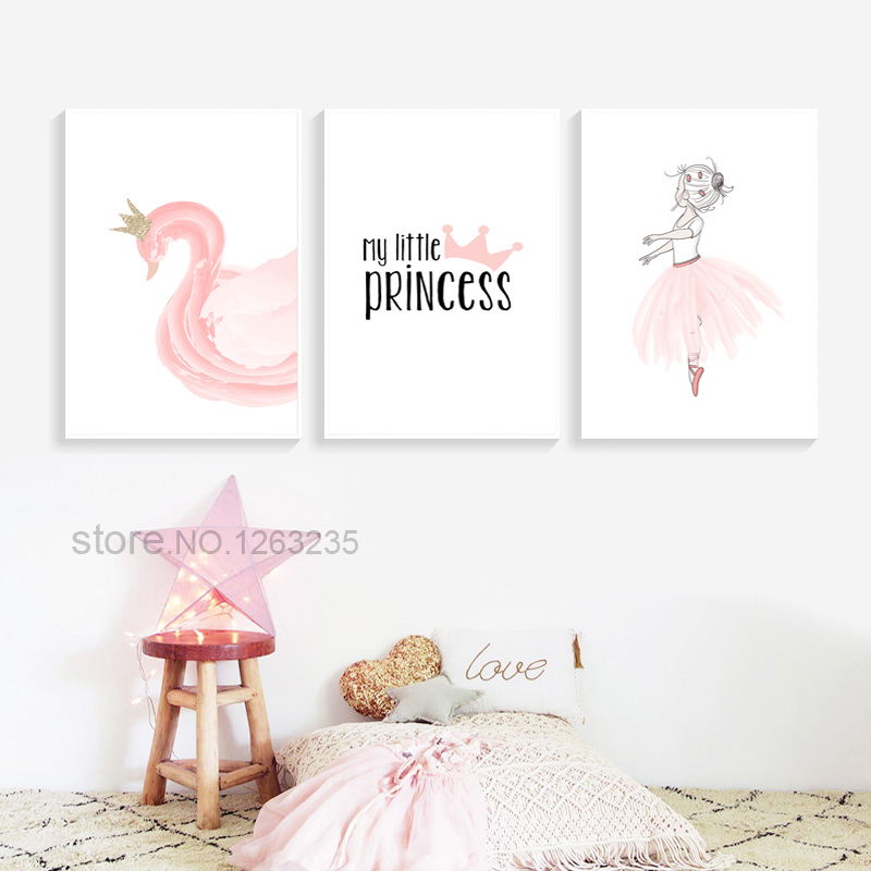 Pink Swan Princess Nordic Poster For Baby Kids Wall Decor Posters And Prints Wall Art Canvas Painting Children S Room Unframed