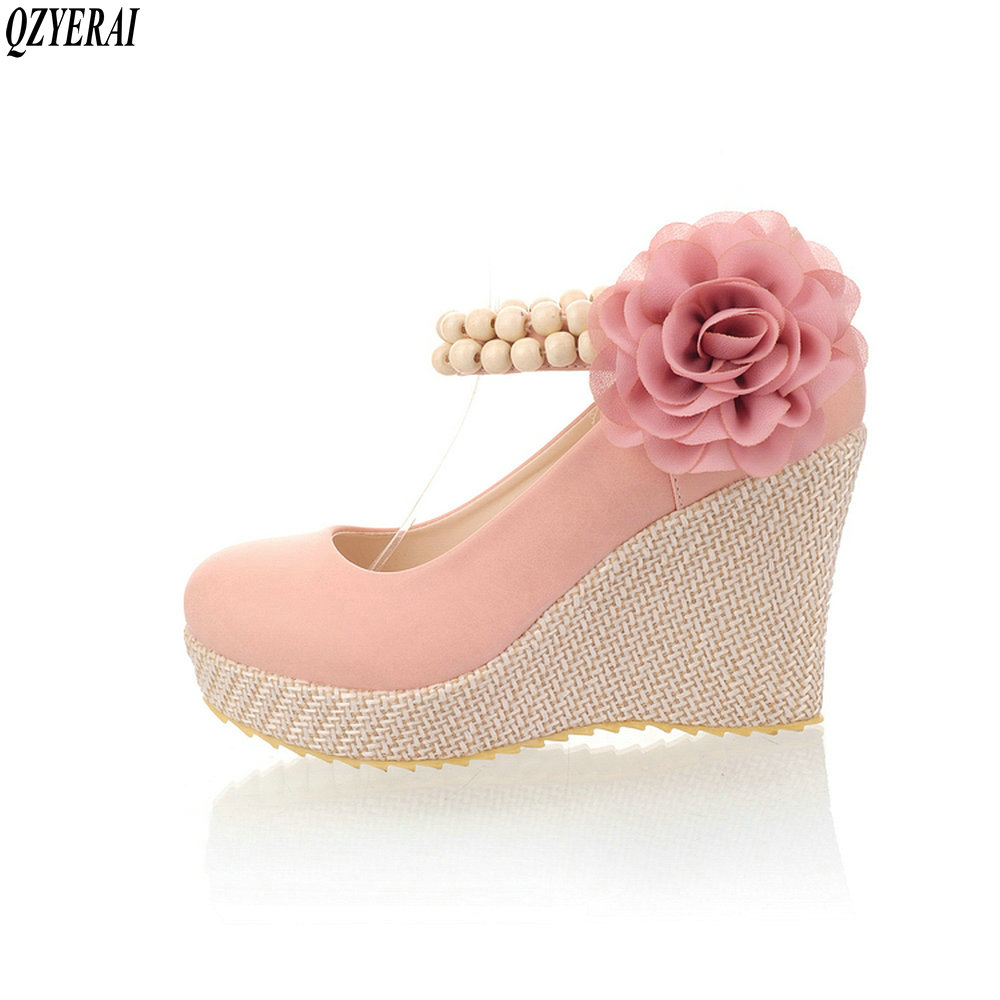 QZYERAI 2018 spring new high heels buckles flowers beaded single shoes womens shoes blue size34-39QZYERAI 2018 spring new high heels buckles flowers beaded single shoes womens shoes blue size34-39