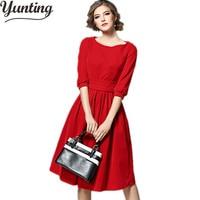 Winter Velvet Dress 2018 Half Sleeve Red Blue Elegant Women Clothing Casual Retro Vintage Party Dresses