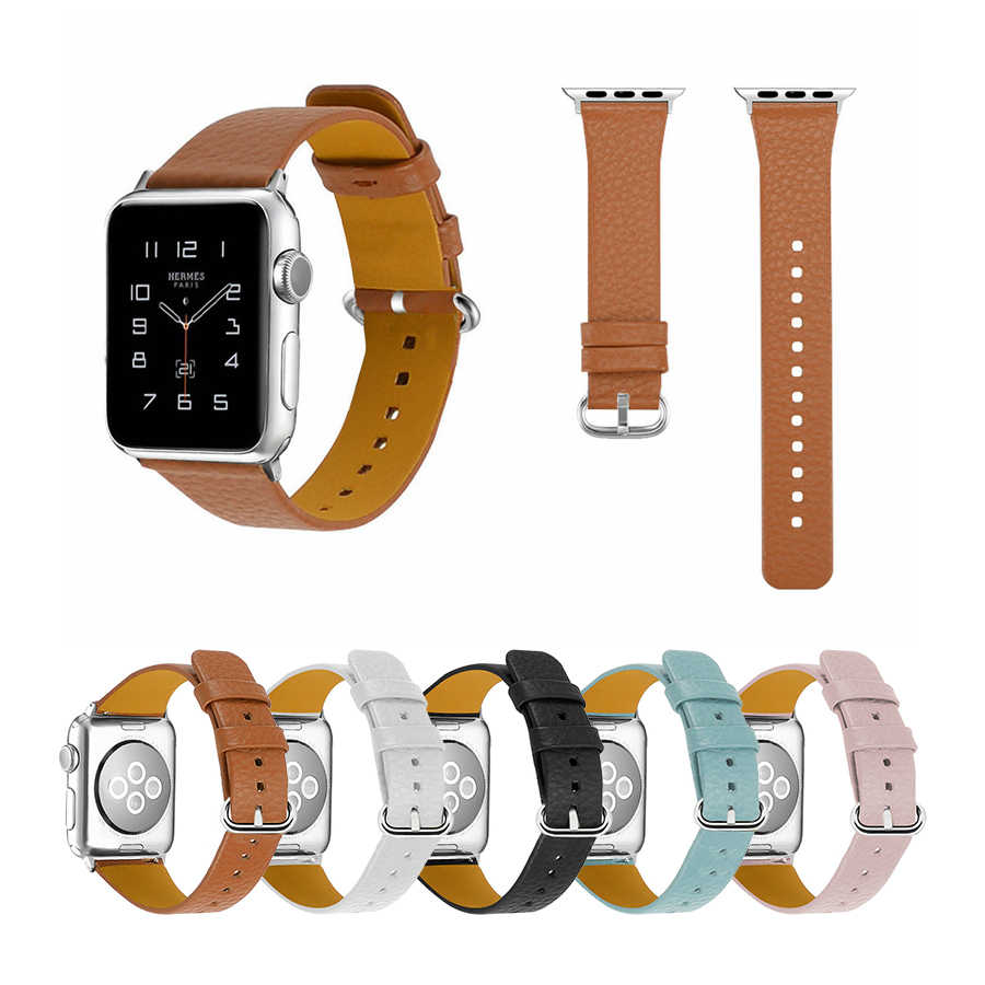 Joyozy Genuine Leather Watch band For Apple Watch Series 4/3/2/1 38mm 40mm 42mm 44mm Slim Replacement Wristband Soft Strap
